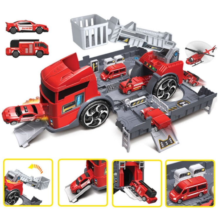 Children-Toy-Tractor-Container-Truck-Simulation-Parking-Lot-Car-Model-SetFire-Engine-TBD0545194301B