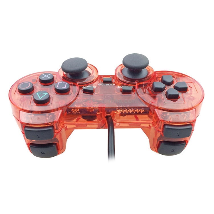 Double-Motor-Vibration-Transparent-Game-Handle-For-PS2-Red-NT0223R