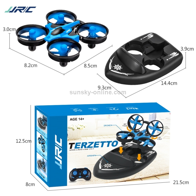 JJRC-24Ghz-3-In-1-Remote-Control-Triphibian-Boat-Vehicle-Drone-RC-Speedboat-Kids-Toy-CHT0278