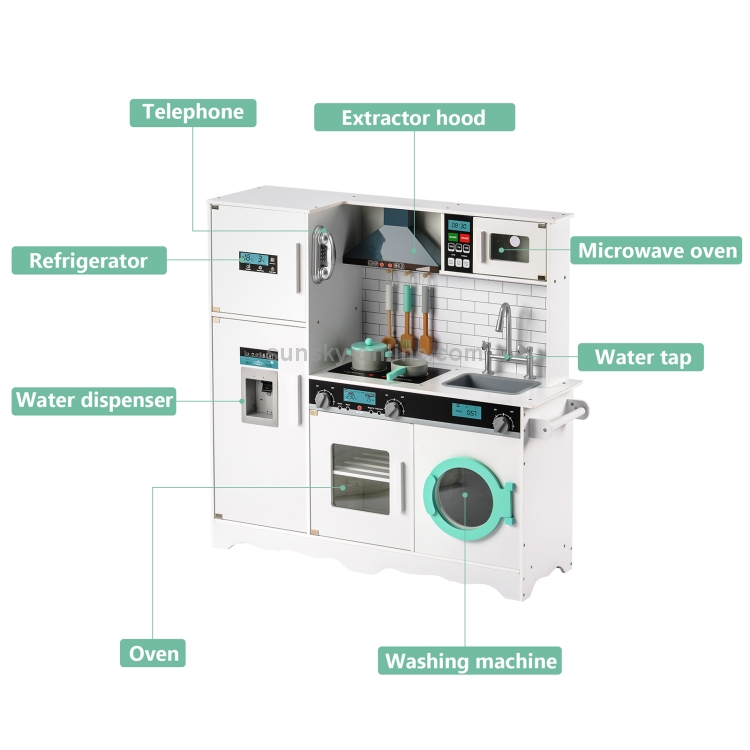 UK-Warehouse-Wooden-Large-Children-Kitchen-Toy-Simulation-Kitchen-with-Telephone-Refrigerator-Sink-Microwave-Oven-Oven-Washing-Machine-FunctionWhite-GPT0278WUK