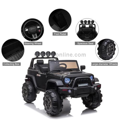 US-Warehouse-12V-Kids-Ride-On-Car-24GHz-Remote-Control-Double-Drive-SUV-Off-Road-Vehicle-with-MP3-LED-Lights-Black-KEV2721BUS