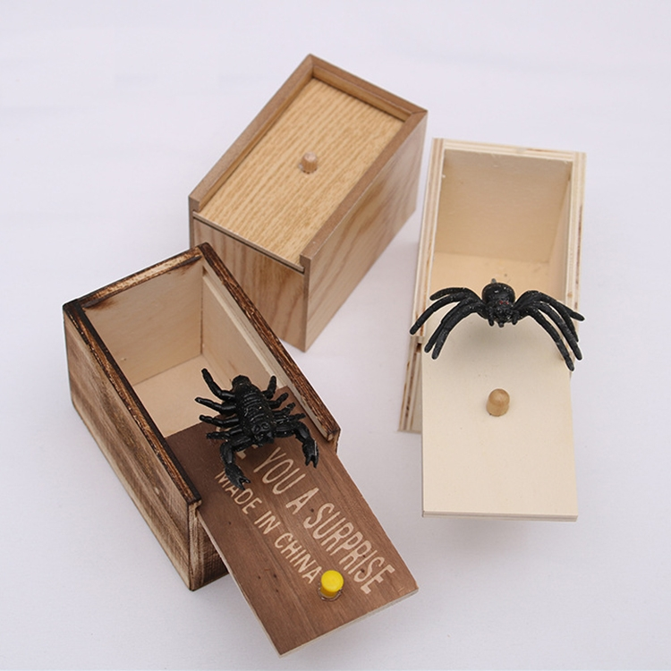 3-PCS-April-Fools-Day-Gift-Wooden-Prank-Toy-Spoof-Spider-BoxWhite-Box-TBD0417621701A